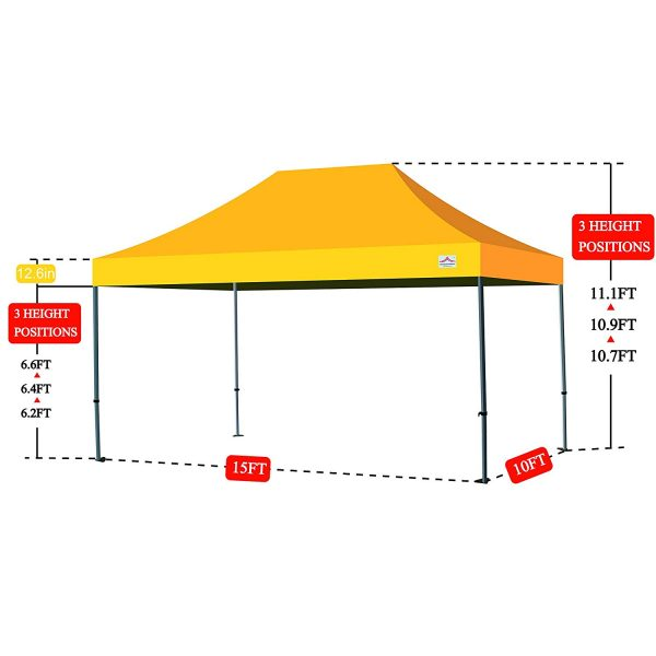 10x15 pop up canopy size