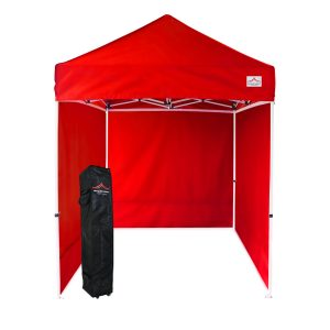 5x5 red pop up canopy with sides