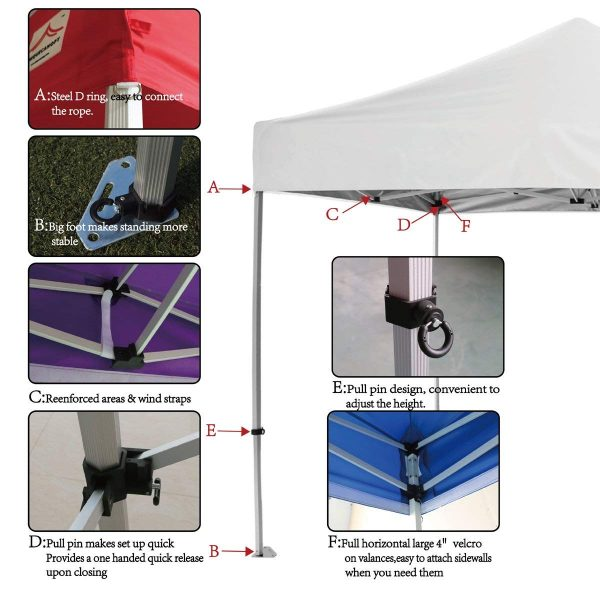 10x20 pop up canopy tent part details